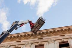 Máquina de elevação móvel da plataforma de trabalho Imagens de Stock Royalty Free