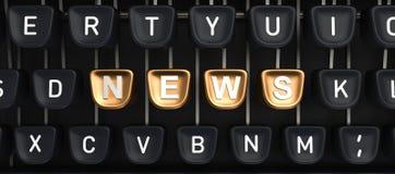 Máquina de escrever com botões da NOTÍCIA Fotografia de Stock