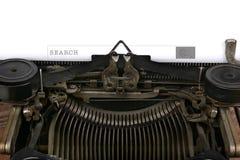 Máquina de escrever com caixa da busca Foto de Stock Royalty Free