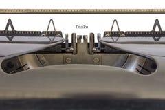 Máquina de escrever de Danke Imagens de Stock