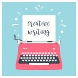 Máquina de escrever denominada retro com a folha de papel e o sinal criativo da escrita Projeto do vetor Imagem de Stock