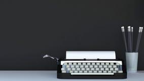 Máquina de escrever e lápis no copo com fundo preto - renderin 3D Imagens de Stock Royalty Free