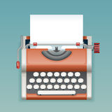 Máquina de escrever manual do vintage retro com projeto liso vazio de Icon Realistic 3d do journalista de Mass Media Press do esc Fotos de Stock