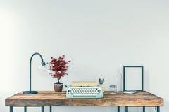 Máquina de escrever velha em uma mesa, conceito da escrita, jornalismo, criando um documento, nostalgia ilustração royalty free