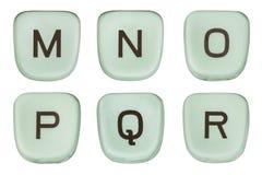 A máquina de escrever verde do vintage fecha as letras M Through R Fotografia de Stock Royalty Free