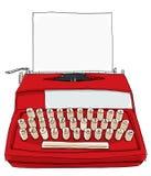 A máquina de escrever vermelha do vintage caçoa o Portable com papel Imagens de Stock