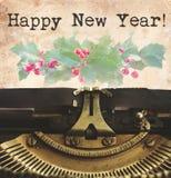 Máquina de escribir de la Feliz Año Nuevo Fotografía de archivo