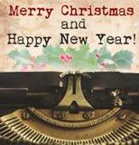 Máquina de escribir de la Feliz Navidad Imágenes de archivo libres de regalías