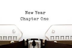 Máquina de escribir del capítulo uno del Año Nuevo Imagen de archivo libre de regalías