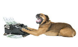 Máquina de escribir del perro fotos de archivo libres de regalías