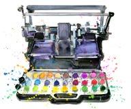 Máquina de escribir Ejemplo de la máquina de escribir Ejemplo de la impresora de color fotos de archivo libres de regalías