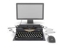 Máquina de escribir, monitor de computadora y ratón retros Imagenes de archivo