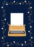 Máquina de escribir de oro diseñada retra con la hoja de papel en blanco diseño festivo del vector Tarjeta de felicitación fotografía de archivo