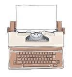 Máquina de escribir real de la academia de la máquina de escribir eléctrica del vintage de Brown stock de ilustración