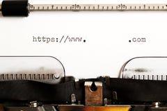 Máquina de escribir vieja con el HTTP del texto Imagen de archivo