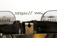 Máquina de escribir vieja con el HTTP del texto Foto de archivo
