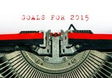 Máquina de escribir vieja con las METAS del texto de la muestra PARA 2015 Imagenes de archivo