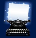 Máquina de escribir vieja mágica con un papel en luz centelleante azul ilustración del vector