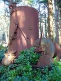 Máquina de hilar del vapor encontrada en bosque Fotos de archivo