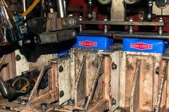 Máquina de la envoltura en la fábrica del té de Bois Cheri Fotos de archivo libres de regalías
