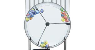 Máquina de la lotería con las bolas de la lotería dentro, animación representación 3d stock de ilustración