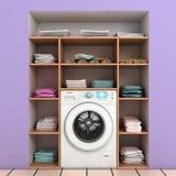 Máquina de lavar com as prateleiras incorporados da parede Imagem de Stock Royalty Free