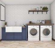 máquina de lavar da rendição 3d na lavandaria do vintage Fotografia de Stock Royalty Free