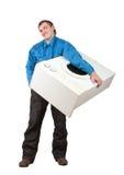 Máquina de lavar da terra arrendada do reparador Fotografia de Stock Royalty Free
