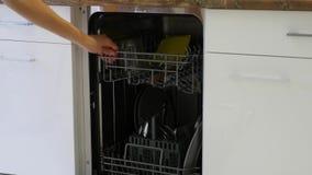 Máquina de lavar louça da abertura da mulher, vídeo do close up video estoque