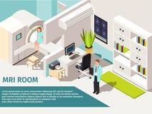 Máquina de mentira paciente de la exploración del concepto MRI de la medicina y del escáner de los diagnósticos en clínica Foto de archivo