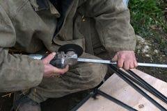 Máquina de moedura do metal do corte, faísca Foto de Stock