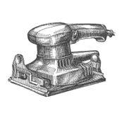 Máquina de pulir en un fondo blanco bosquejo stock de ilustración