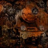 Máquina de tiempo de la locomotora de vapor de la vendimia de Grunge Fotografía de archivo libre de regalías