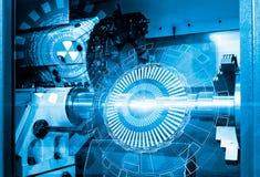 Máquina de trituração metalúrgica do CNC com ligt e tom azul Cuttin Foto de Stock