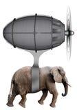 Máquina de vuelo del elefante aislada Imagen de archivo libre de regalías
