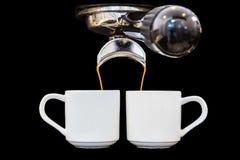 Máquina del café aislada en negro Imagen de archivo