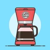 Máquina del café con el pote del café Diseño plano Imagen de archivo