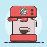 Máquina del café con una taza de café caliente Diseño plano Foto de archivo