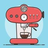 Máquina del café con una taza de café caliente Diseño plano Imagenes de archivo