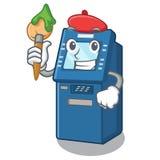 M?quina del cajero autom?tico del artista aislada con la mascota ilustración del vector
