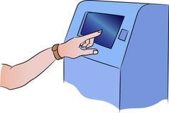Máquina del cajero automático del vector con el accesorio Terminal para el pago La mano con una pulsera de la aptitud se incluye  stock de ilustración