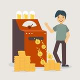 Máquina del dinero que crea el dinero stock de ilustración