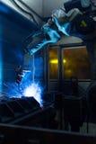 Máquina del robot de soldadura Fotografía de archivo libre de regalías