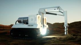 Máquina del taladro del espacio en el planeta extranjero Exploración de Marte stock de ilustración