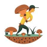 Máquina desbastadora do cogumelo com um grande cogumelo ilustração do vetor