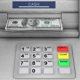 Máquina do ATM do dinheiro do banco rendição 3d Imagens de Stock