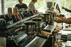 Máquina do café na cafetaria da manhã Imagens de Stock Royalty Free