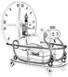 Máquina do tempo isolada no vetor branco do fundo Fotografia de Stock Royalty Free