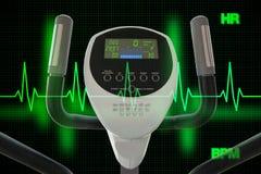 Máquina elíptica para ejercitar con el diagrama o el coche del golpe de corazón fotografía de archivo