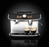 Máquina elegante del café que prepara el café express en dos vidrios ilustración del vector